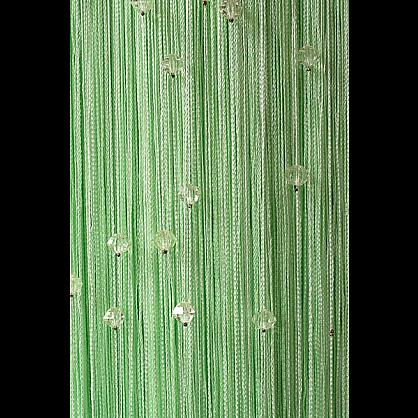 Кисея нитяная штора на кулиске однотонная с камнями - Фисташковая (Ok-15), фото 1