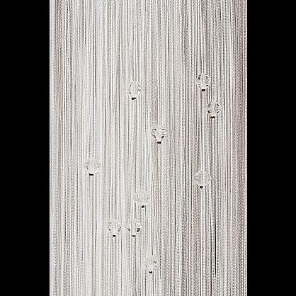 Кисея нитяная штора на кулиске однотонная с камнями - Белая (Ok-1), фото 1
