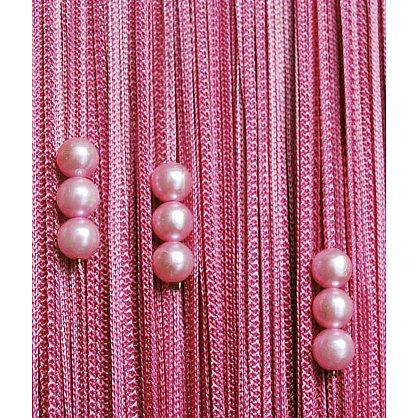 Кисея нитяная штора на кулиске с жемчугом - Брусника (Zh-266), фото 1