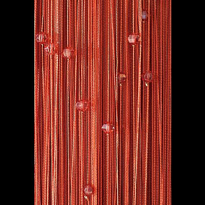 Кисея нитяная штора на кулиске однотонная с камнями -Терракот (Ok-2), фото 1