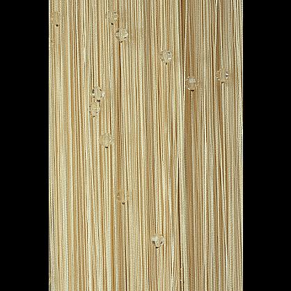 Кисея нитяная штора на кулиске однотонная с камнями - Молоко (Ok-203), фото 1
