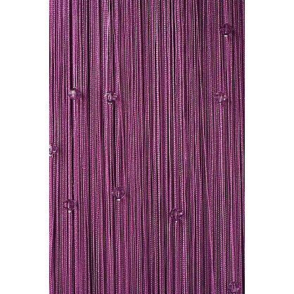 Кисея нитяная штора на кулиске однотонная с камнями - Сирень (Ok-205), фото 1