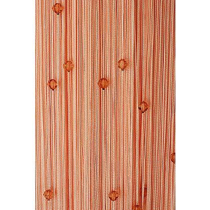 Кисея нитяная штора на кулиске однотонная с камнями - Персик (Ok-209), фото 1