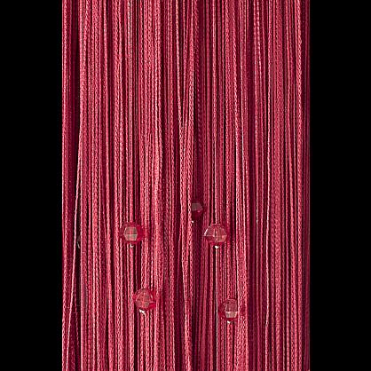 Кисея нитяная штора на кулиске однотонная с камнями - Фуксия (Ok-6), фото 1