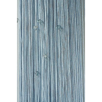 Кисея нитяная штора на кулиске однотонная с камнями - Серебро (Ok-7), фото 1