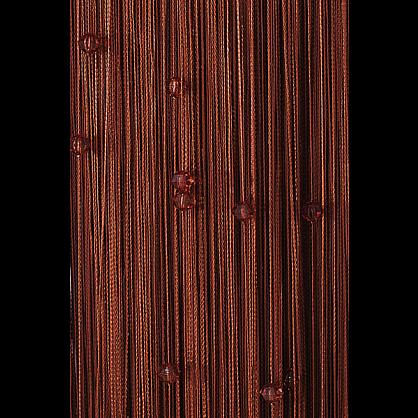 Кисея нитяная штора на кулиске однотонная с камнями -Темный шоколад (Ok-204), фото 1