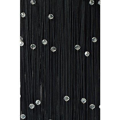 Кисея нитяная штора на кулиске однотонная с камнями - Черная (Ok-9), фото 1