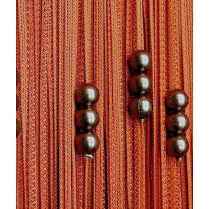 Кисея нитяная штора на кулиске с жемчугом - Терракотовая (Zh-262), фото 1