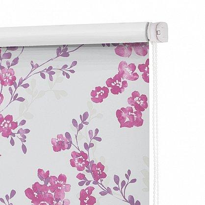 """Рулонная штора ролло блэкаут """"Акварельные цветы"""", лиловый, 50 см (ax-100309), фото 4"""
