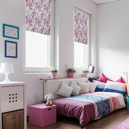 """Рулонная штора ролло блэкаут """"Акварельные цветы"""", лиловый, 80 см (ax-100311), фото 1"""