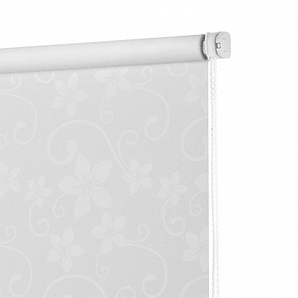 """Рулонная штора ролло бернаут """"Цветы"""", белый, 50 см (ax-100284), фото 4"""