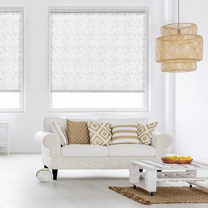 """Рулонная штора ролло бернаут """"Цветы"""", белый, 80 см (ax-100286), фото 1"""
