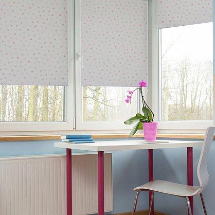 """Рулонная штора ролло блэкаут """"Горошек"""", розовый, 60 см (ax-100320), фото 1"""