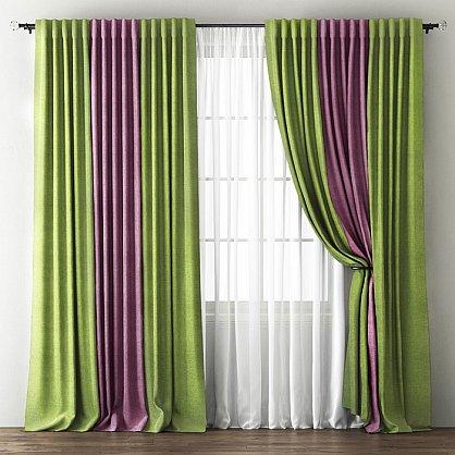Комплект штор Кирстен, зеленый, фиолетовый (bl-200166-gr), фото 1