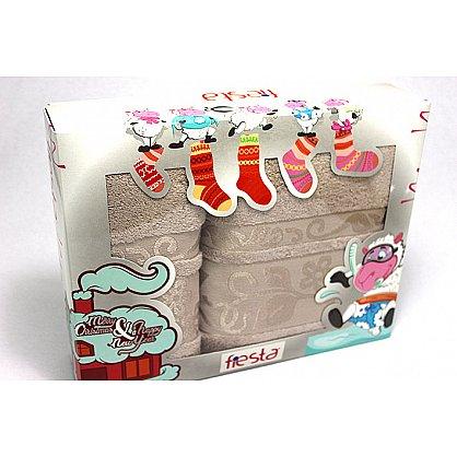 """Набор полотенец """"Класс"""" в новогодней упаковке, бежевый, малый (F-class-b-m), фото 1"""