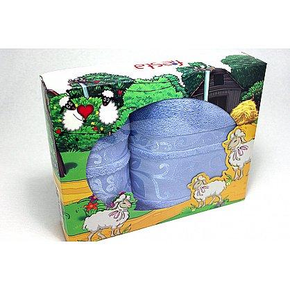 """Набор полотенец """"Класс"""" в новогодней упаковке """"Овечки"""",голубой, большой (F-class-golub-ovtsa-b), фото 1"""