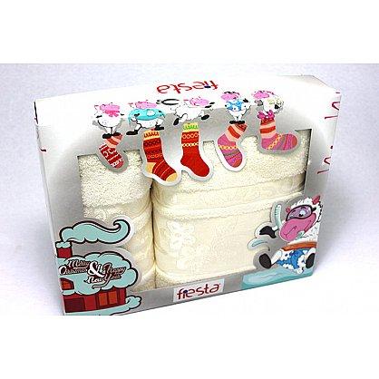"""Набор полотенец """"Класс"""" в новогодней упаковке, кремовый, большой (F-class-krem-b), фото 1"""