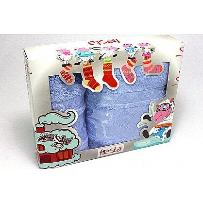 """Набор полотенец """"Класс"""" в новогодней упаковке, голубой, малый (F-class-g-m), фото 1"""