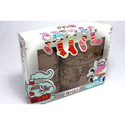 """Набор полотенец """"Класс"""" в новогодней упаковке,коричневый, малый (F-class-kor-m), фото 1"""