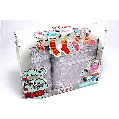 """Набор полотенец """"Класс"""" в новогодней упаковке,серый, малый (F-class-sery-m), фото 1"""
