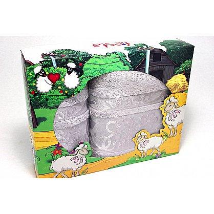"""Набор полотенец """"Класс"""" в новогодней упаковке """"Овечки"""",серый, большой (F-class-sery-ovtsa-b), фото 1"""