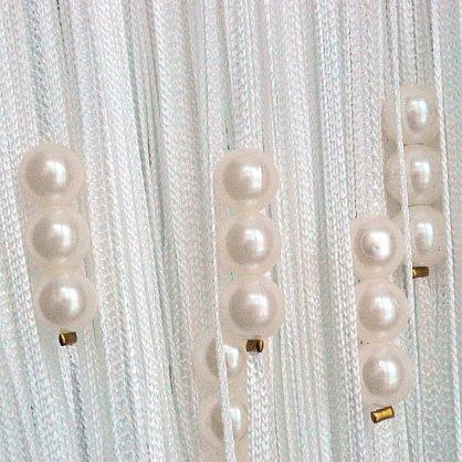 Кисея нитяная штора на кулиске с жемчугом - Белые на белом (Zh-261), фото 1