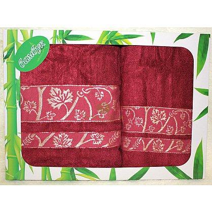 Набор Бамбук Кленовый лист бордо, 33*74 - 2 шт. (KS8073-1-br), фото 1
