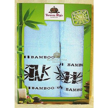 Набор полотенец Бамбук тропик голубой, 33*74 - 2 шт. (KS8270-2-g), фото 1