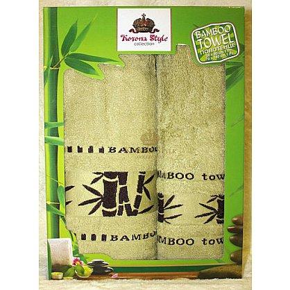 Набор полотенец Бамбук тропик зеленый, 33*74 - 2 шт. (KS8270-2-zel), фото 1