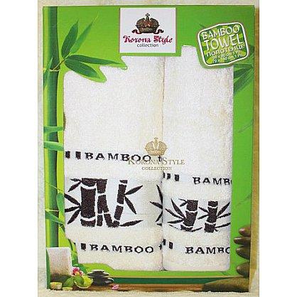 Набор полотенец Бамбук тропик белый, 33*74 - 2 шт. (KS8270-2-b), фото 1