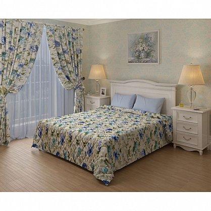 Комплект для спальни Бегония, бежевый с голубыми цветами (add-200017-gr), фото 1