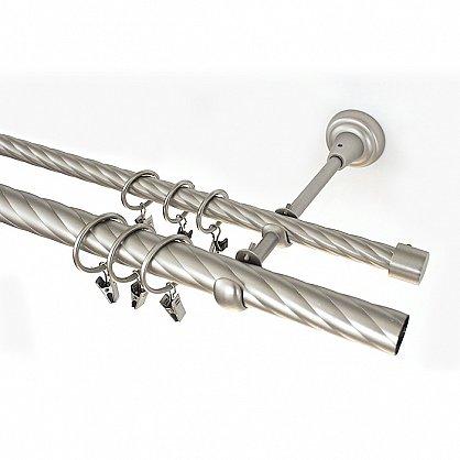 Карниз металлический 2-рядный хром матовый, крученая труба, ø25 мм (df-100115), фото 1