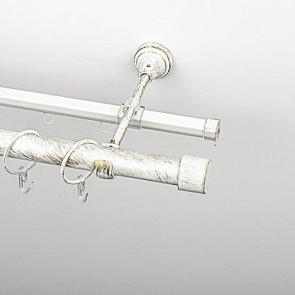 """Карниз металлический стыкованный c наконечниками """"Кофу"""", 2-рядный, белое золото, гладкая труба, ø 25 мм (kn-870), фото 1"""