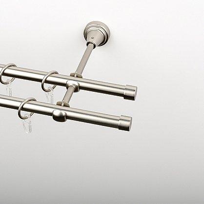 """Карниз металлический стыкованный c наконечниками """"Корсо"""", 3-рядный, хром матовый, гладкая труба, ø 16 мм (kn-857), фото 2"""