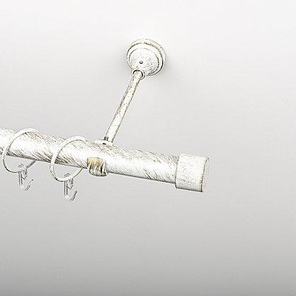 """Карниз металлический стыкованный c наконечниками """"Кофу"""", 2-рядный, белое золото, гладкая труба, ø 25 мм (kn-870), фото 2"""