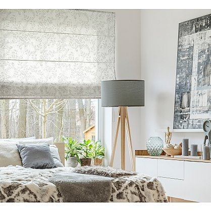 """Римская штора макси """"Sia Visilio oasis con plomo"""", белый blanco (цветы) 10, ширина 120 см (df-101508), фото 1"""