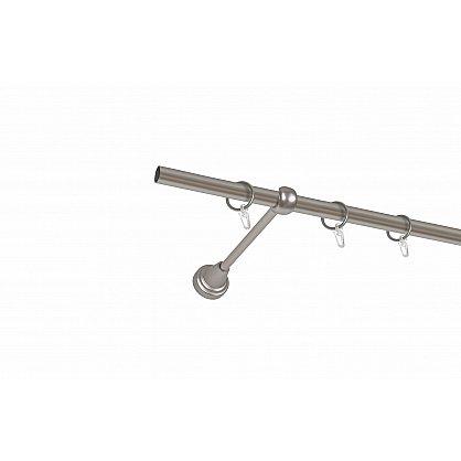 Карниз металлический 1-рядный хром матовый, гладкая труба, 180 см, ø16 мм (df-100042), фото 1