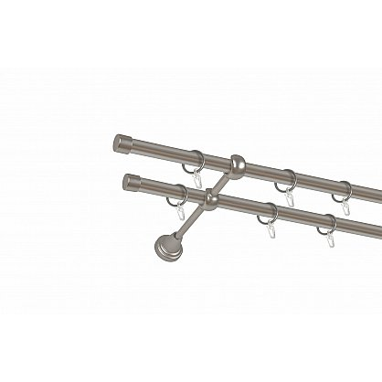 Карниз металлический 2-рядный хром матовый, гладкая труба, 200 см, ø16 мм (df-100048), фото 1