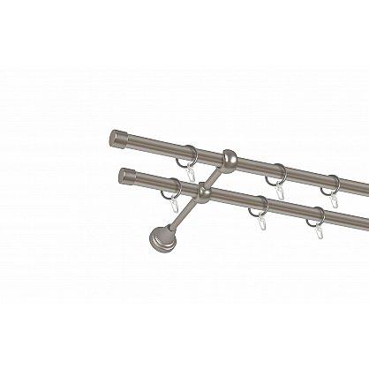 Карниз металлический 2-рядный хром матовый, гладкая труба, 240 см, ø16 мм (df-100049), фото 1