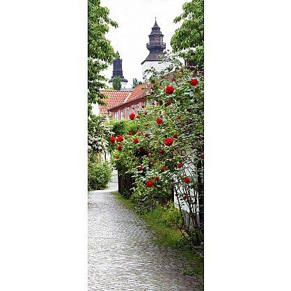 """Рулонная штора лен """"Аллея роз"""", 68 см-A (d-103212-A), фото 2"""