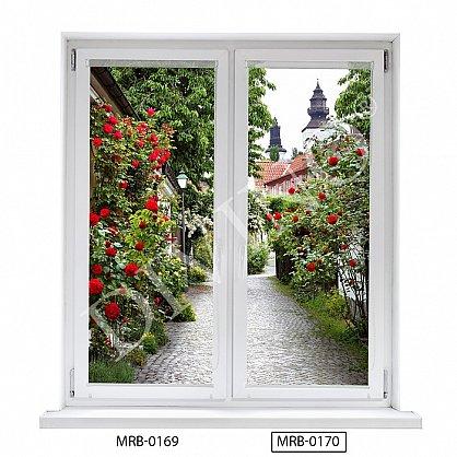 """Рулонная штора лен """"Аллея роз"""", 68 см-A (d-103212-A), фото 1"""