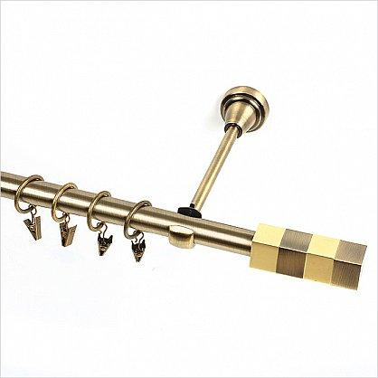 """Карниз металлический 1-рядный """"Сигма"""", золото антик, гладкая труба, 19 мм (kn-104), фото 1"""