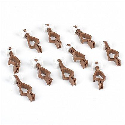 Комплект пластмассовых бегунков с зажимом для шины, коричневый (df-100024), фото 1