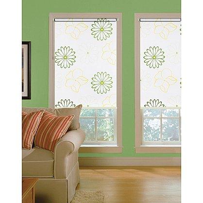 """Рулонная штора ролло lux """"Samba"""", белый, цветы зелено-желтые (i-200057-gr), фото 1"""