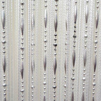 Кисея нитяная штора на кулиске, Бусы - Белая (Bs-1), фото 1