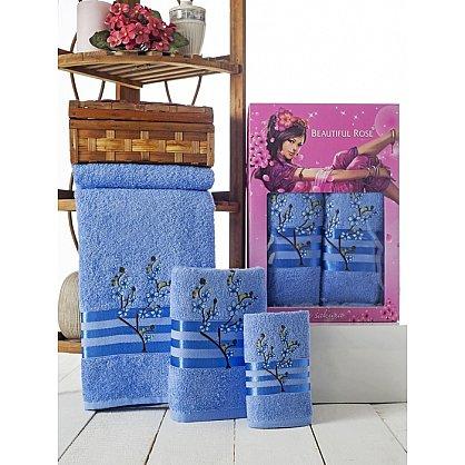 Комплект полотенец Rose Moonlight Sakura в коробке (30*50; 50*90; 70*140), голубой (mt-100503), фото 1