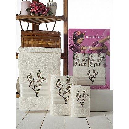Комплект полотенец Rose Moonlight Sakura в коробке (30*50; 50*90; 70*140), кремовый (mt-100506), фото 1