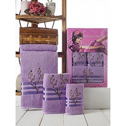 Комплект полотенец Rose Moonlight Sakura в коробке (30*50; 50*90; 70*140), лиловый (mt-100507), фото 1