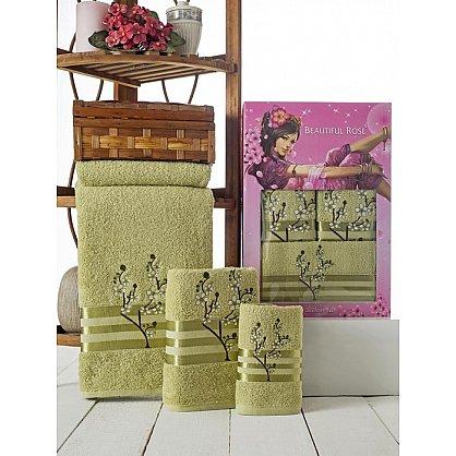 Комплект полотенец Rose Moonlight Sakura в коробке (30*50; 50*90; 70*140), зеленый (mt-100504), фото 1
