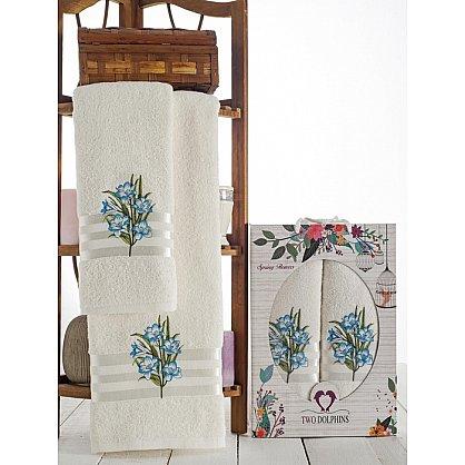 Комплект махровых полотенец Spring Flowers в коробке (50*90; 70*140), бирюзовый (mt-100625), фото 1